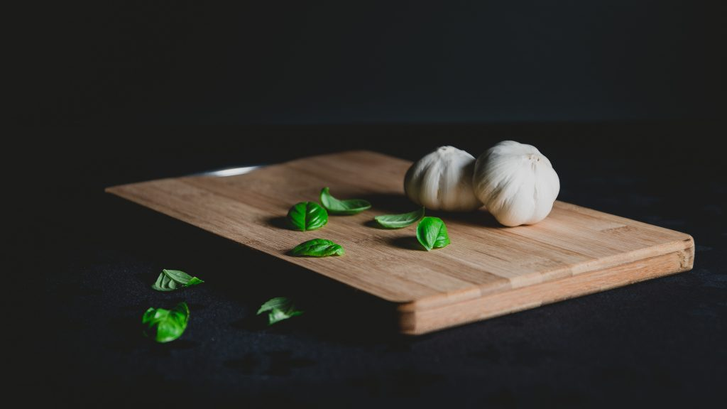 Garlic on a Chopping Board