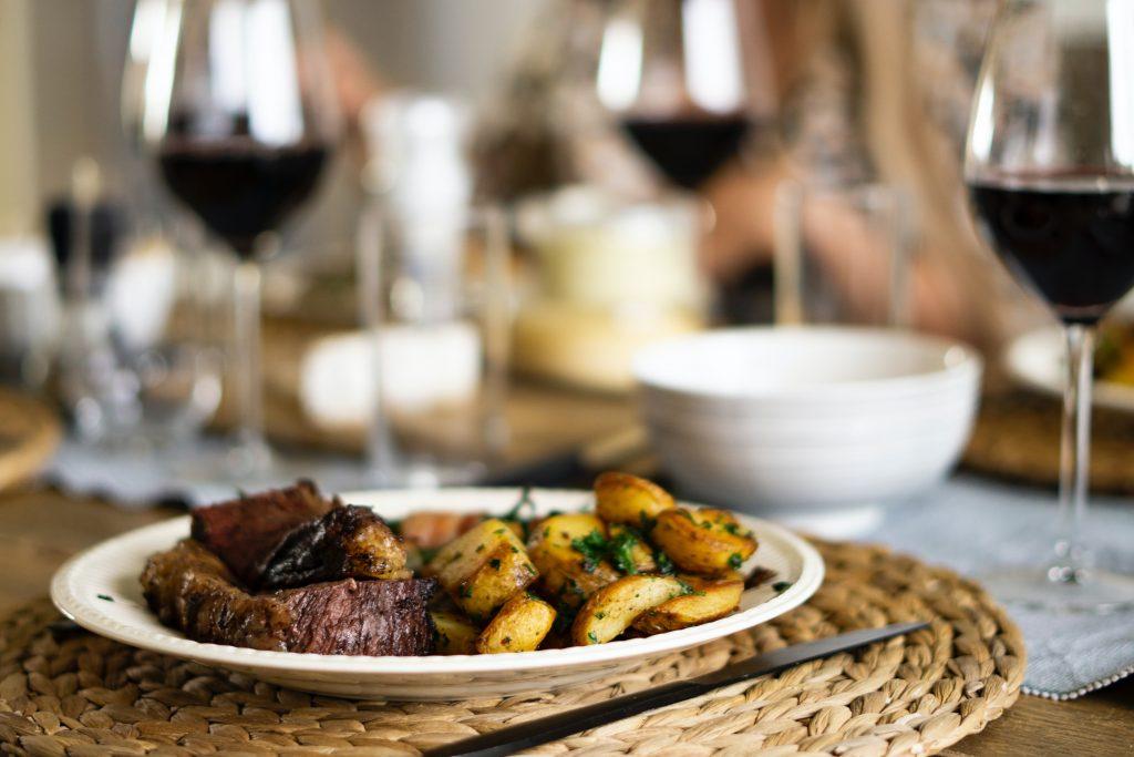 steak and roast potatoes