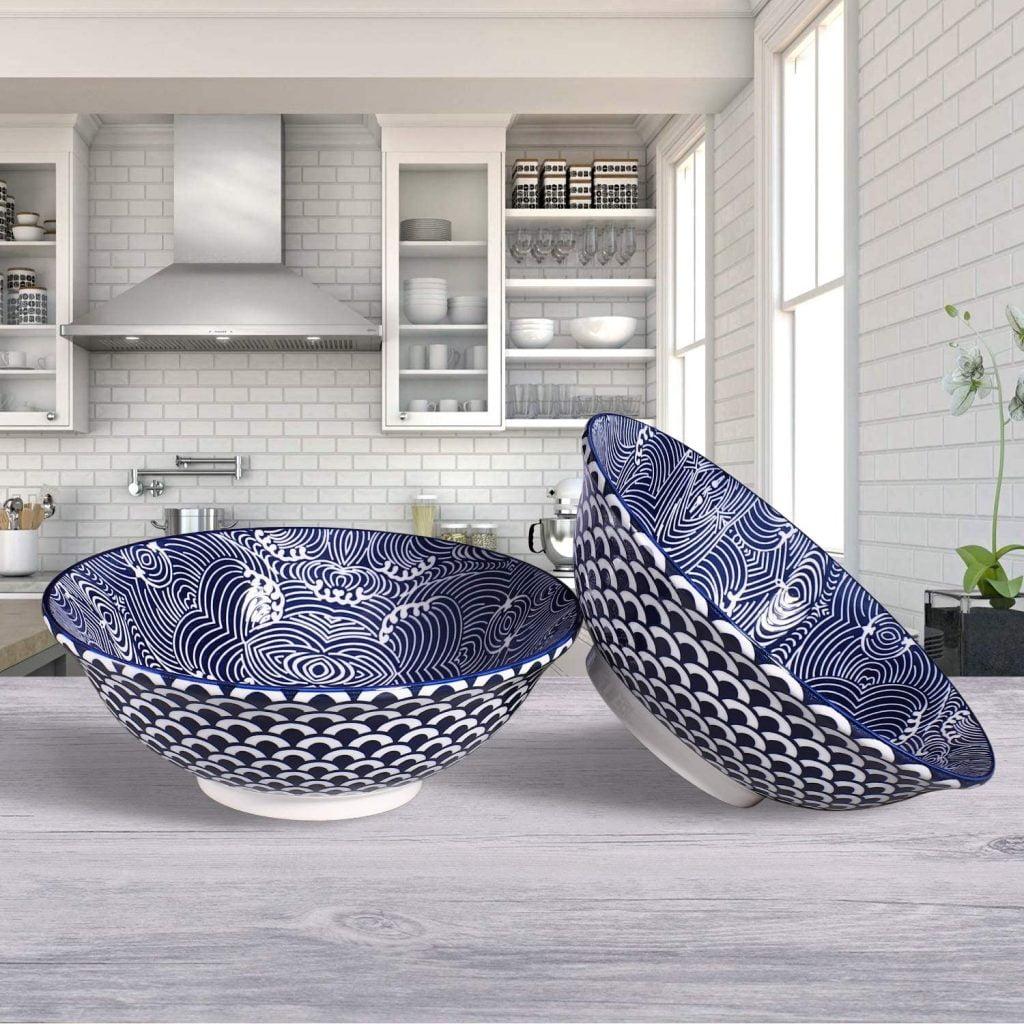 Blue White Ramen Bowl