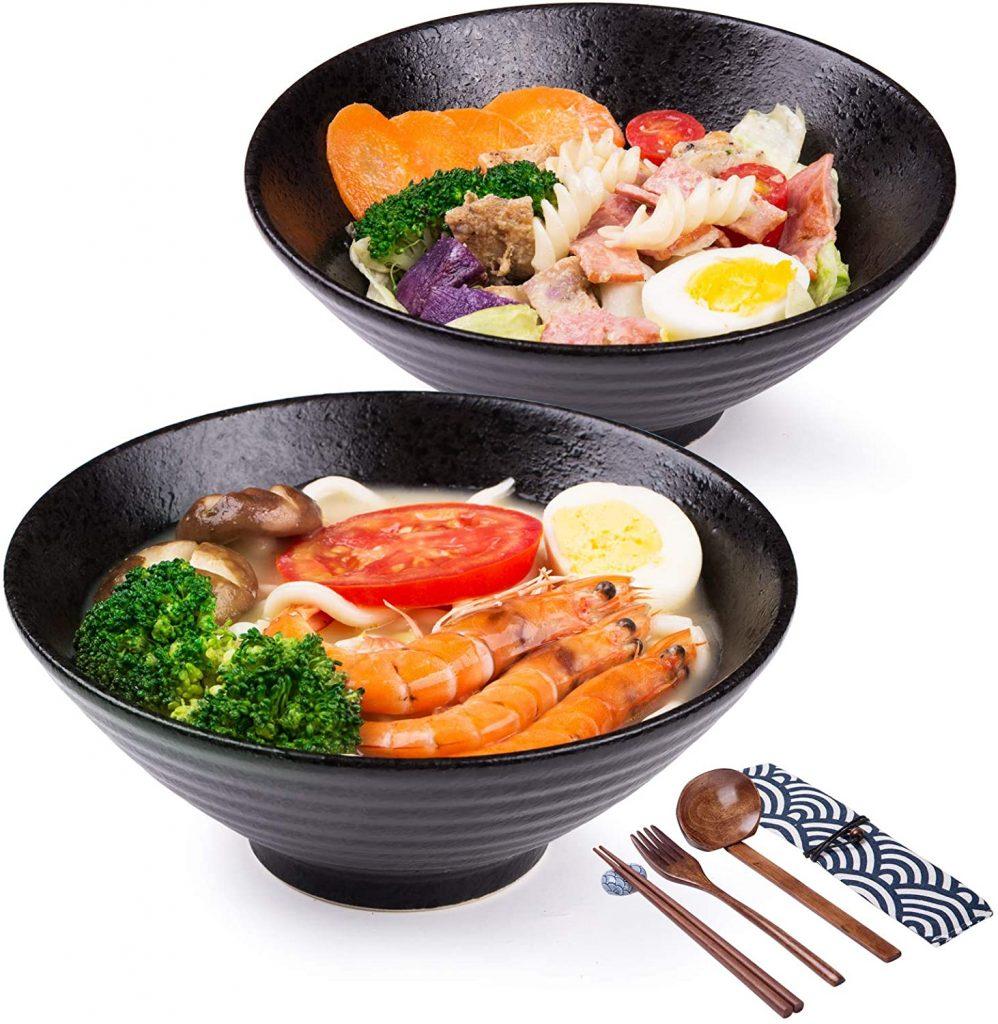 Porcelain ramen bowls black