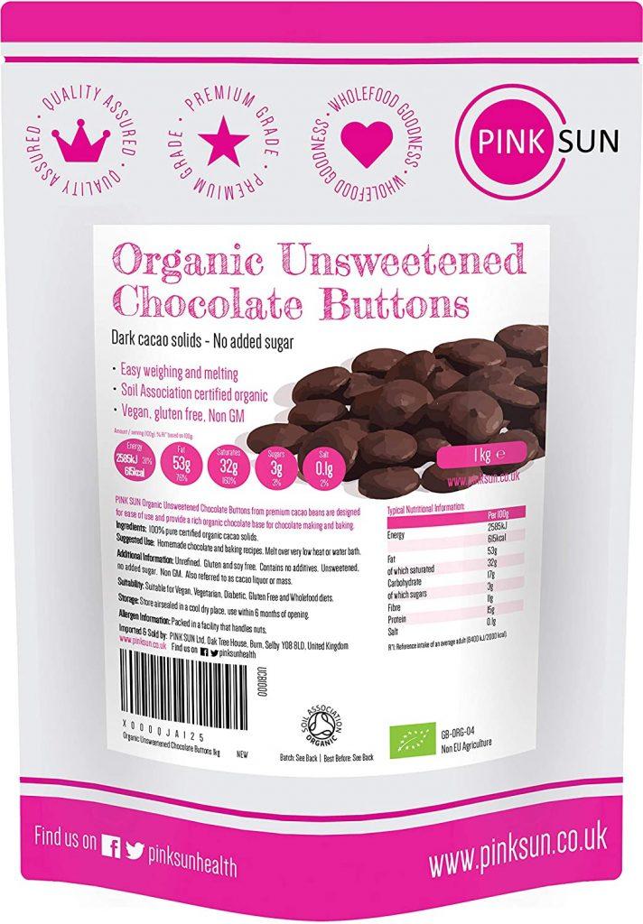PINK SUN Organic Unsweetened Chocolate Buttons 
