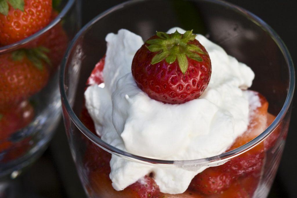 strawberries and creme fraiche