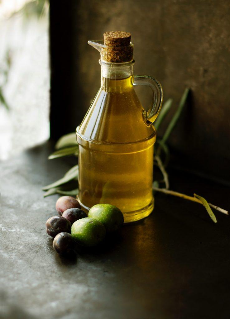 filled olive oil bottle