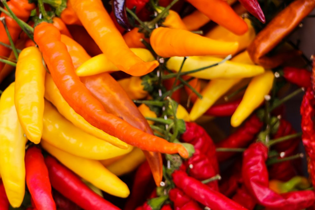 Bunch of aji amarillo peppers
