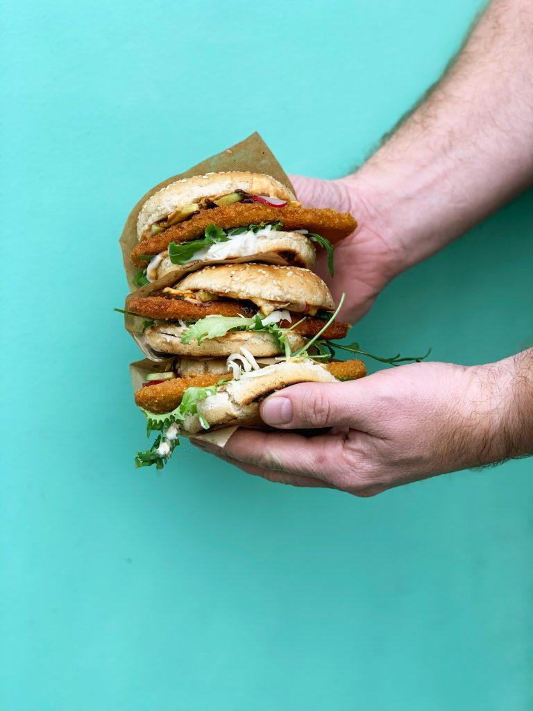 a fried seitan burger